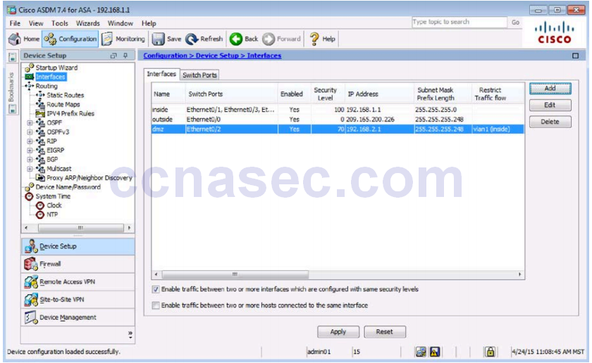 10 1 4 8 Lab A - Configure ASA Basic Settings and Firewall using